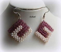 Beige / Eggplant Seed Bead Earrings, Statement Beadwork Earrings, Beaded Earrings, Bead Jewelry, Handmade Jewelry, Unique Gift, CRAW, OOAK
