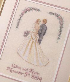 wedding cross stitch patterns | Wedding Cross Stitch Pattern Bride and Groom Personalized Names Date ...