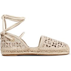 MICHAEL Michael Kors Darci broderie anglaise canvas espadrilles ($79) ❤ liked on Polyvore featuring shoes, sandals, flats, espadrilles, sapatos, beige, espadrille sandals, flat pumps, beige flats and beige sandals