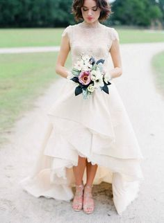 Wedding Gown high low hem lace wedding dress perfection - 10 of the most beautiful short wedding dresses. If you're thinking about raising the hemline on your big day, all the inspiration you need is here. Bridal Musings, Wedding Attire, Dress Wedding, Wedding Bouquets, Wedding Dresses Short Bride, Wedding Flowers, Wedding Dressses, Wedding Ceremony, Tea Length Wedding Dresses