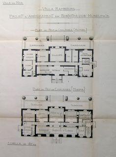 Plan d'aménagement de la Villa Rambourg en bibliothèque. Rez-de-chaussée