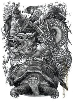 Chinese Auspicious Creatures by on DeviantArt Japanese Tattoo Art, Japanese Sleeve Tattoos, Tattoo Drawings, Body Art Tattoos, Men Tattoos, Small Tattoos, Foo Dog Tattoo Design, Hannya Tattoo, Chinese Dragon Tattoos