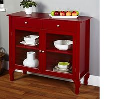 NEW Red Floor Cabinet Curio Case Display Storage Buffet 2 Glass Doors  Elegant