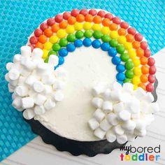 Easy Kids Birthday Cakes, Easy Cakes For Kids, Easy Birthday Cake Recipes, Make Birthday Cake, Rainbow Birthday, Cake Decorating For Kids, Girl Cakes, Mini Marshmallows, Effort