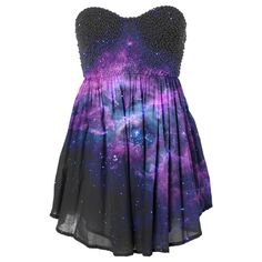 brilliance ❤ liked on Polyvore featuring dresses, vestidos, galaxy, galaxy dress, nebula dress, galaxy print dress, space print dress and cosmic dress
