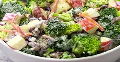 Broccoli Apple Salad -- Broccoli, pecans, cranberries, carrots and apples come together to make an amazing salad with delicious flavors and textures. The creamy dressing on top makes this salad absolutely incredible! New Recipes, Salad Recipes, Vegetarian Recipes, Dinner Recipes, Cooking Recipes, Healthy Recipes, Apple Recipes, Skinny Broccoli Salad, Brocolli Apple Salad