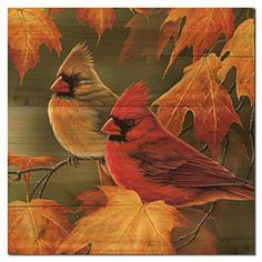 WGIGALLERY 1212 Maple Leaves and Cardinals Wooden Wall Art *** You can get more details by clicking on the image. (This is an affiliate link and I receive a commission for the sales)