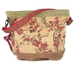 Floral Branch Printed Canvas Crossbody Bag with Suede Trim