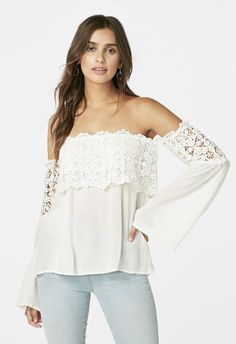 Crochet Off Shoulder Top in Off-White - Get great deals at JustFab Crochet  Off 90dc458f9