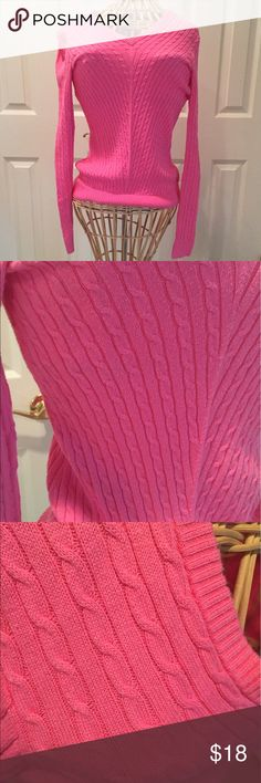 Classic cable knit pink Lilly Pultizer sweater Classic Lilly Pulitzer cable knit light pink, lightweight sweater! Perfect for all seasons and great for this summer with shorts or white jeans. Gently used. V-neck. 100% cotton. Lilly Pulitzer Sweaters V-Necks