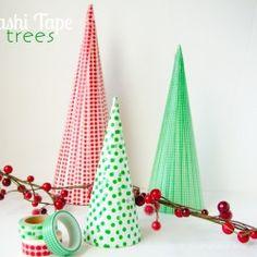 Washi Tape Christmas trees... neat idea! Easy to do!