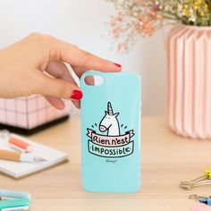 "Coque iPhone licorne ""Rien n'est impossible"" mr wonderful"