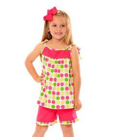 Love this Pink & Green Polka Dot Ruffle Tank & Shorts - Toddler & Girls by Smockadot Kids on #zulily! #zulilyfinds