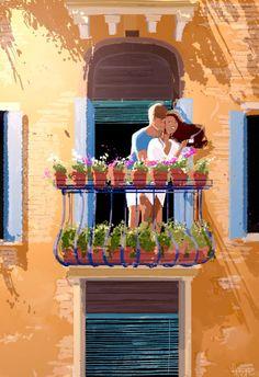 The Art Of Animation — Pascal Campion -. Image Couple, Cute Couple Art, Couple Illustration, Illustration Art, Couple Drawings, Art Drawings, Pascal Campion, Love Art, Amazing Art