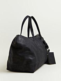 RICK OWENS MEN'S LEATHER TRAVELLER BAG @ $1579