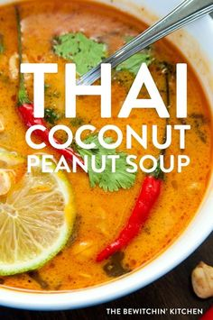This Thai Coconut Peanut soup recipe makes a delicious and easy dinner. Made with chicken chili paste peanut butter coconut milk and spices makes this perfect for your healthy dinner recipes board. Healthy Soup Recipes, Vegetarian Recipes, Cooking Recipes, Coconut Soup Recipes, Lactose Free Soup Recipes, Thai Food Vegetarian, Recipes Using Coconut Milk, Healthy Fall Soups, Vitamix Soup Recipes