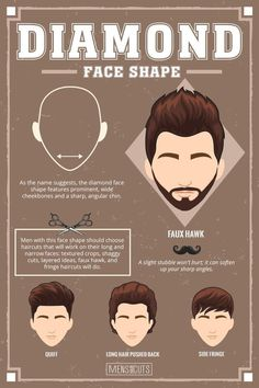 Diamond Face ★Face shapes guide to matchin… Diamond Face ★Face shapes guide to matching your haircut perfectly. Take advantage of your unique face shape features and enhance them with your head and facial hair. Diamond Face Haircut, Haircut For Face Shape, Diamond Face Shape, Mens Face Shape, Cool Haircuts, Haircuts For Men, Cool Hairstyles, Wedding Hairstyles, Blonde Hairstyles