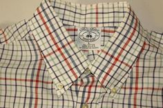 BROOKS BROS BUTTON FRONT SHIRT SZ LARGE BLUE GREEN RED STRIPES - NICE LOOKING #BrooksBrothers #ButtonFront