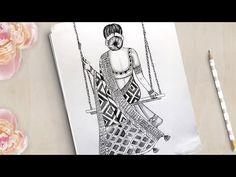 Art Drawings Beautiful, Dark Art Drawings, Girly Drawings, Art Drawings Sketches Simple, Pencil Art Drawings, Doodle Art Drawing, Mandala Drawing, Doodle Art Designs, Drawing Designs