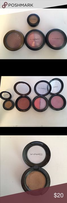 Lot of 3 Mac Products Blush Eyeshadow Hang Loose Lot includes: Blushes- Full of Joy, Hang Loose. Eyeshadow- Era. Eyeshadow is lightly used but I tried depotting it so that is why the pan is dented on the side. Blushes are lightly used as well. Hang loose blush has the most use as shown. MAC Cosmetics Makeup Blush