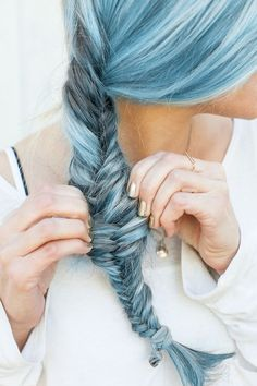 Blue hair - Pastel hair. Wonder of work would let me do this...