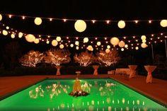backyard wedding lights over pool Moon Light Holiday Lighting July 4th Wedding, Backyard Wedding Lighting, Sweet 16 Parties, Outdoor Living, Outdoor Decor, Globe Lights, Holiday Lights, Paper Lanterns, Wedding Planning