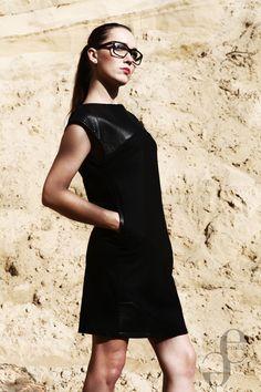 Black wool dress with leather elements by Emilia Sikorska www.emfaso.com