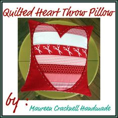 Quilted Heart Throw Pillow   I just love the handstitching details this Designer adds to everything! So wonderful!!
