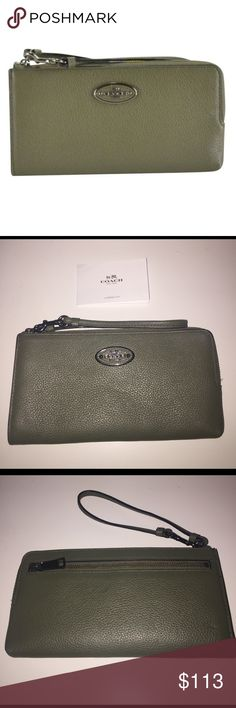 NWT Authentic Coach leather wallet/wristlet #53413 NWT ended up with the same item twice. The Coach L-Zip Wristlet is the perfect, lightweight piece to store phone, cards, keys and other essentials in multiple pockets to nest them perfectly in place. Crafted in refined grain leather, this golden subtle, yet luxurious statement piece fits perfectly in the palm of your hand with the convenience of a wrist strap. Coach Bags Wallets