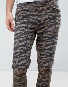 ASOS | Pantalones capri de corte slim con rotos y bajo sin rematar de camuflaje de ASOS