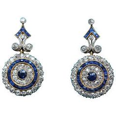 Edwardian Sapphire Diamond Gold Platinum Target Earrings from Shop more products from on Wanelo. Sapphire And Diamond Earrings, Platinum Earrings, Sapphire Jewelry, Gold Platinum, Blue Earrings, Gold Jewelry, Fine Jewelry, Blue Sapphire, Diamond Jewelry