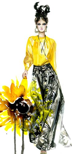 Included in the illustration is the inspiration for the color choice: sun flower