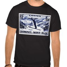 Shirts, clothing, drink ware, iphone, ipod and ipad covers, home accessories featuring an antique 1938 engraved postage stamp depicting a ski jumper in mid flight and issued by France to promote the International Ski Federation (FIS) skiing competition held in Chamonix-Mont-Blanc.  #france, #chamonix, #ski, #postagestamp, #montblanc, #wintersport, #french, #ephemera, #vintage, #alps, ,#downhill, #skijump, #tshirt