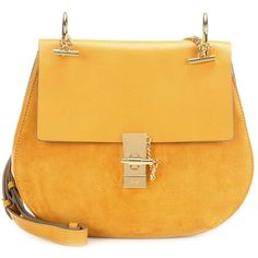 Chloé Drew Medium Leather and Suede Shoulder Bag (€1.970) ❤ liked on Polyvore featuring bags, handbags, shoulder bags, yellow, leather shoulder bag, suede shoulder bag, chloe purses, leather shoulder handbags and shoulder handbags