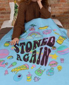 Stoned Again Blanket - Weed Blanket - Stoner Alien Blanket - Cannabis Blanket - 420 Blanket - HighCiti Hippie Bedroom Decor, Indie Room Decor, Room Ideas Bedroom, Small Room Bedroom, Bedroom Designs, Stoner Bedroom, Marijuana Decor, Hangout Room, Hippy Room