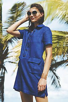 Lace-Up Linen Dress - anthropologie.com
