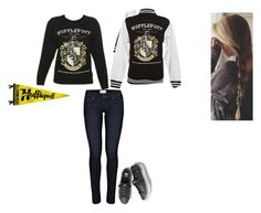 """At Quidditch game"" by ilovecats-886 ❤ liked on Polyvore featuring Paige Denim, Keds, Hufflepuff and quidditch"