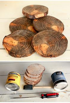 Diy wood tree limb coasters how to