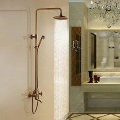latón antiguo baño grifo de la ducha con alcachofa de la ducha 8 pulgadas + ducha de mano