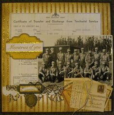 Memories of You...heritage military page with document background, vintage letters and ephemera embellishments.
