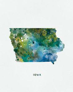 Iowa Watercolor Iowa Map Iowa Print Wall Art Des Moines  #Iowamap #iowa #unitedstates #landscape #state #yellow #green #usa #map #abstract  #stencil #typography #DesMoines #mapart #wallart #poster #travel