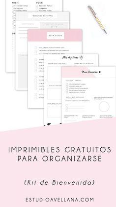Imprimibles gratis para organizarte mejor - Kit de Bienvenida!!