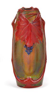 ** Zsolnay, Pécs, Eosin-Glaze Decorated Earthenware Vase.
