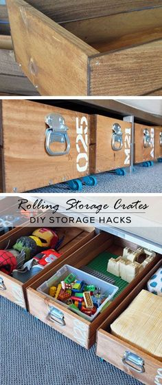 Rolling Storage Crates - DIY Storage Ideas for Kids Rooms - Click for Tutorial