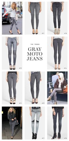 the trend gray moto jeans Erika Brechtel picks Jean Outfits, Casual Outfits, Cute Outfits, Grey Jeans Outfit, Gray Jeans, Moto Jeans, Swagg, Beautiful Outfits, Autumn Winter Fashion