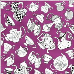 Tea Party Purple Fabric
