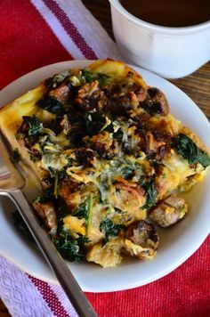 Keeping it healthy for Christmas morn! Sausage, Egg & Kale Strata from ReluctantEntertainer.com