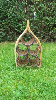 Wine rack Bamboo and Wicker bottle storage vintage kitsch retro kitchen accessories brown natural  weaved rustic weathered space for 5 - pinned by pin4etsy.com