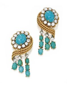 Pair of 18 Karat Gold, Platinum, Turquoise and Diamond Earclips, Van Cleef & Arpels, New York, 1958 | Sotheby's