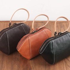 Genuine Leather Handmade Clutch Handbag Purse For Women